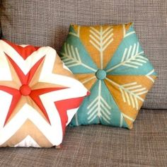 Two fat quarters are all you need to turn a large-scale fabric design into a beautiful hexagon.