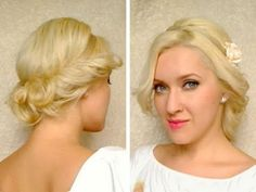 Cute easy curly updo hairstyle for medium long hair tutorial for spring prom wedding Short Thin Hair, Medium Long Hair, Long Layered Hair, Medium Hair Styles, Curly Hair Styles, Medium Cut, Medium Layered, Cute Prom Hairstyles, Headband Hairstyles