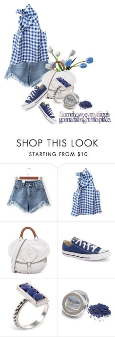 """somehow everything's gonna fall right into place"" by queenrachietemplateaddict ❤ liked on Polyvore featuring WithChic, Etrala London, Maison Margiela, Converse, Ona Chan, blueandwhite, quote, sneakers, denimshorts and gingham"