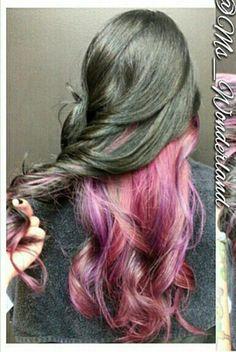 Pink dyed hair