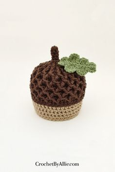 Autumn Acorn hat with leaf photo prop baby fall nut Crochet Fall, Crochet Baby Hats, Crochet Beanie, Crochet For Kids, Free Crochet, Knitted Hats, Knit Crochet, Crochet Crafts, Crochet Projects