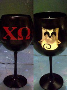 Chi Omega Sorority Big/Little Wine Glass by BlessYourHeartGlass, $17.00