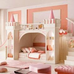 Build your own lil' girls castle with just book cases and cones, then paint. CUTE
