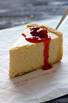 New York Style Cheesecake- a traditional classic because it's simplicity speaks loud. Big, Bold & Beautiful with a unique floured crust giving each bite a mouthful of THE most deliciously creamy cheesecake EVER! Coconut Cheesecake, Cheesecake Recipes, Dessert Recipes, Homemade Cheesecake, Strawberry Cheesecake, Cupcake Recipes, Just Desserts, Delicious Desserts, Yummy Food