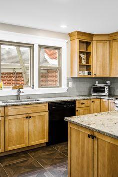 Subway Backsplash, Travertine Backsplash, Granite Kitchen, Granite Countertops, Cherry Wood Cabinets, Manufactured Stone, Traditional Kitchen, Natural Wood, Kitchen Design