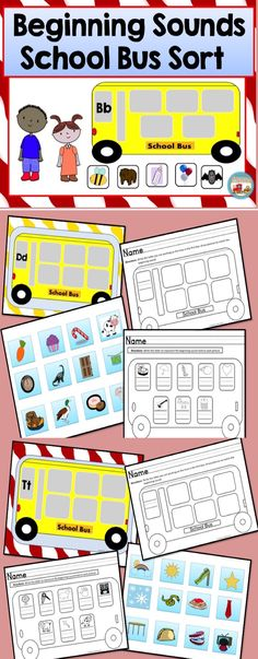 Beginning Sounds School Bus Sort Kindergarten Art Activities, Kindergarten Teachers, Elementary Teacher, Preschool, Tracing Letters, 26 Letters, Instructional Planning, Alphabet Coloring Pages, Teaching Resources