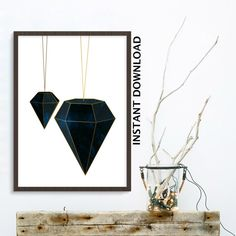 Diamond wall art , affiche scandinave , instant download , Blue Gold, Marble print , diamond art print , geometric printable , gift for her , feminist print , crystal print . ____________________________________________________________________________________________________________________________ INSTANT DOWNLOAD  Print out this modern wall artwork from your home computer or local print shop to style and decorate your home or office!  Your file will contain one high resolution .jpg , which…