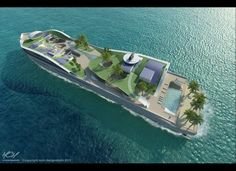 A green roof, solar panels, wind turbines and a rainwater collector. With the concept Island(E)motion luxury mega-yacht, Super Yachts, Floating Hotel, Floating Island, Floating Architecture, E Motion, Classic Yachts, Yacht Design, Speed Boats, Power Boats