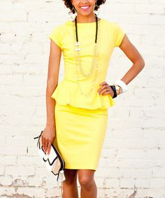 Look at this #zulilyfind! Yellow Sunny Side Up Peplum Dress by Shabby Apple #zulilyfinds