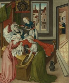 master of the crucifixion triptych, The Birth of the Virgin, Renaissance, Medieval Bed, Breastfeeding Art, Medieval Paintings, Dark Ages, Old Master, Historical Costume, Triptych, 15th Century