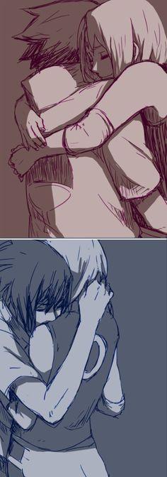 Sakura & Sasuke <3 I don't usually ship this, but i couldn't resist to pin this. It's so heartwarming~: