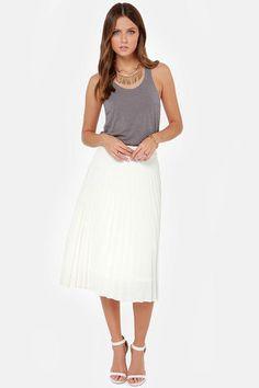 JOA Pleat Guilty Ivory Midi Skirt at Lulus.com!