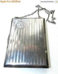 SPRING SALE Antique Sterling R. Blackinton Coin Compact Art Deco Silver Card Purse Wallet 99 grams Vintage Accessory