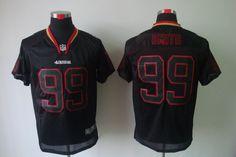 NIKE NFL San Francisco 49ers #99 Smith Black Lights Out Elite Jerseys