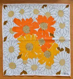 Set of 6 Vera Neumann White Orange & Yellow by ScissorsAndSpice, $28.00