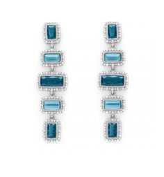 Rapture London Blue Spinel and Mother of Pearl Linear Earrings