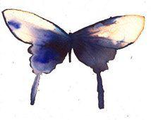 Asia zwart, violet en gouden vlinder originele aquarel schilderij geïnspireerd