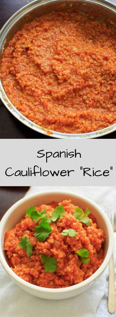 Spanish Cauliflower Rice - a grain-free substitute for Spanish rice that's quick and healthy. Vegan and gluten-free option.