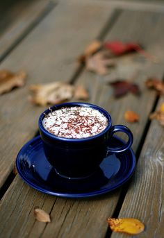 Autumn chocolate cup with cream I Love Coffee, Coffee Art, Coffee Break, My Coffee, Morning Coffee, Coffee Cups, Morning Morning, Morning Quotes, Coffee Today