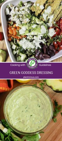 Creamy and delicious and full of plant-based goodness this vegan Green Goddess dressing recipe is a crowd pleaser. The creaminess comes from tahini and avocado combined with parsley or cilantro and green onions for that lovely green color. Vegan Green Goddess Dressing Recipe, Dinner For Two, Green Onions, Tahini, Nutritious Meals, Plant Based Recipes, Palak Paneer, Cilantro, Parsley