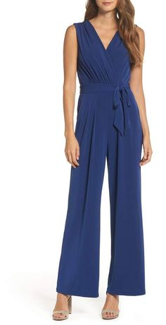 Find and compare Vince Camuto Faux Wrap Jersey Jumpsuit (Regular & Petite) across the world's largest fashion stores! Fashion Over 50, Fashion Looks, Jumpsuit Elegante, Nordstrom, Pants For Women, Clothes For Women, Denim Jumpsuit, Pleated Jumpsuit, Wrap Jumpsuit
