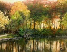 """""""Glowing Light I"""" 14x11 inch. OIL,PAINTING. Capturing the beautiful glow of autumn light as it filters through autumn leaves.  Oil on linen panel. Ready to frame and hang! . Published via ArtLoupe. #IMPRESSIONISTIC #LANDSCAPE #TRADITIONAL"""