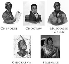 The Five Civilized Tribes were the five Native American nations—the Cherokee, Chickasaw, Choctaw, Creek, and Seminole—that were considered civilized by Anglo-European settlers during the colonial and early federal period because they adopted many of the colonists' customs and had generally good relations with their neighbors.