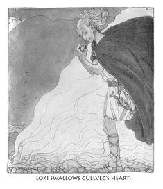 Loki swallows Gullveig's heart by John Bauer from Die Göttersage der Väter