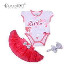 Gooulfi Baby Girl Clothing bodysuit For Newborn Infant Baby Girls Tutu  2pcs Set Print Letter Dress Short Sleeve Cotton Summer