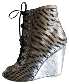 CHANEL Peforated Leather Silver Ankle Boots / Booties www.fullcirclefashion.com