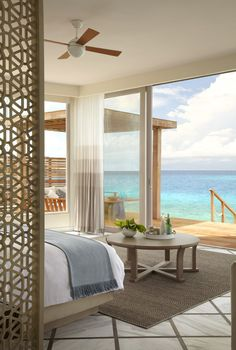 The uninterrupted ocean view from a Water Villa at Viceroy Maldives.