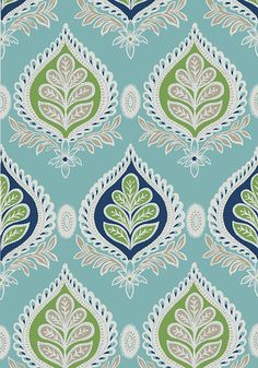 MIDLAND, Blue and Green, T24316, Collection Bridgehampton from Thibaut