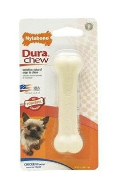 DOG TOYS - RUBBER AND PLASTIC - NYLABONE DURA CHEW - PETITE - CHICKEN FLAVOR - CENTRAL - TFH PUBLICATIONS - UPC: 18214778103 - DEPT: DOG PRODUCTS