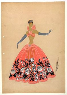 Erté, Costume Sketch of Orange Gown with Pattern of Gray Flowers, 1947.