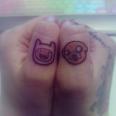 Small Finn & Jake tattoos. Loveeeeee