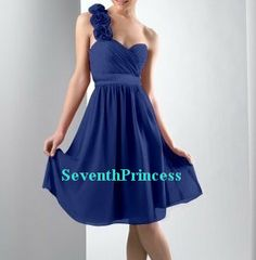 Royal Blue Chiffon One-Shoulder Short Bridesmaid Dress, Prom Dress, Homecoming Dress on Etsy, $93.00