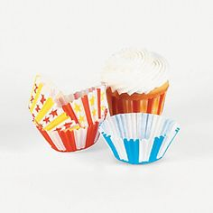 Big Top Cupcake Liners. Use these circus-themed baking cups for circus-themed birthday parties, school carnivals and more! These cupcake liners come in colorful