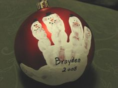 The Free Money-Saving Tips Ezine: Homemade Christmas Ornaments: Child Handprint Ornaments Christmas Activities, Christmas Crafts For Kids, Homemade Christmas, Christmas Projects, Holiday Crafts, Holiday Fun, Christmas Holidays, Christmas Bulbs, Christmas Gifts