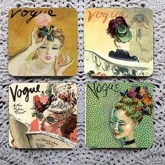 Lovely Ladies --  Vintage Fashion Magazine Covers Mousepad Coaster Set on Etsy, $13.87 AUD