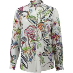 Etro Jungle Print Silk Blouse (3.265 RON) ❤ liked on Polyvore featuring tops, blouses, silk print blouse, white silk blouse, silk blouses, white blouse and button blouse