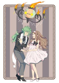 """""""Can I have this dance?"""" - N and Touko. #PokemonBW #Ferriswheelshipping"""