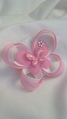 Items similar to Carlykins Boutique Baby Girl Hair Accessories Felt Butterfly on a Snap Clip Infant, Toddler, on Etsy Ribbon Art, Ribbon Crafts, Ribbon Bows, Making Hair Bows, Diy Hair Bows, Baby Bows, Baby Headbands, Baby Girl Hair Accessories, Baby Girl Boutique