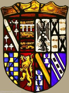 Armorial Leaded Glass of Henry Fitzalan-Howard, 15th Duke of Norfolk, KG, GCVO, VD, PC, Earl Marshal, Chief Butler of England (1847-1917) married as his second wife the Hon. Gwendolen Constable-Maxwell (1877-1945), eldest daughter of Marmaduke Constable-Maxwell, 11th Lord Herries of Terregles.