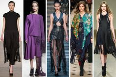 London fashion week trends, fall 2015. Fringe. From left to right: Pavane, Timur Kim, Julien Macdonald, Burberry Prorsum and Issa.