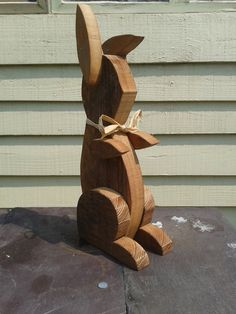 Wooden Rabbit Ornament on Etsy, $27.63
