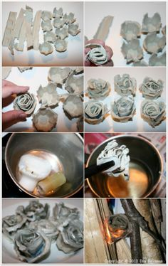 Make tinder roses.  Sytykeruusuja:  Ensin revitään kanamunarasiasta kansi ja kennot. Kennot revitään toisistaan irti ja kansiosa suikaleiksi.  Kiedo suikaleita rullaksi, laita rulla kennoon ja painele tiukasti pohjaansa.  Sulata kynttilänpätkiä miedolla lämmöllä.  Kun steariini on sulanut, sammuta liesi ja ota kattila liedeltä.  Anna steariinin jäähtyä miltein kädenlämpöiseksi. Kasta ruusukkeet kärjistään kattilassa.   Sytykeruusukkeet ovat valmiina käytettäviksi puu-uunien sytyttämiseen. Hobbies And Crafts, Diy And Crafts, Crafts For Kids, Flower Crafts, Diy Flowers, Simple Christmas, Christmas Diy, Paper Weaving, Tissue Paper Flowers