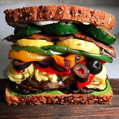 Gargantuan Grilled Veggie Sandwich with Basil Pea Pesto   I am still in awe of this bad boy, and I…