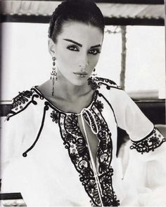 Gabriela Malos, #Romanian top model from Moldavia wearing a #RomanianBlouse #LaBlouseRoumaine