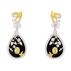k gold, diamond and lacquer 'Camélia Coromandel' earrings.