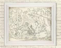 Winnie The Pooh, pooh Wall Art, Piglet Print, Eeyore Print, Tigger Print, Pooh and the gang, Pooh Shower Gift, Pooh Nursery, Pooh Gift Eeyore, Tigger, Winnie The Pooh Classic, Sheet Music Art, Childrens Wall Art, Music Wall, Vintage Sheets, Classic Books, Creative Art